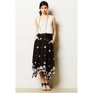 Anthropologie Floreat Embroidered Midi Skirt